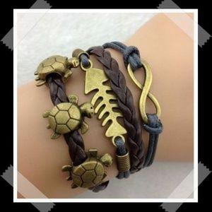Infinity Fish Bone Turtles Leather Charm Bracelet
